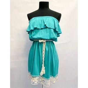 Strapless Ruffle Top Crochet Trim Dress +Rope Belt